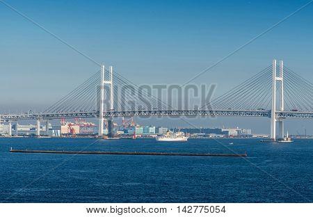 View Of Yokohama Bay Bridge And Yokohama Sea Port