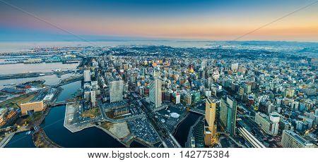 Aerial Pamorama View Of Yokohama Cityscape At Minato Mirai Waterfront District.;