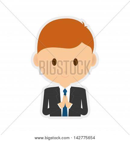pray boy kid religion catholicism icon. Isolated and flat illustration