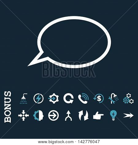 Hint Cloud vector bicolor icon. Image style is a flat pictogram symbol, blue and white colors, dark blue background.