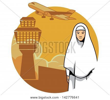 Vector illustration of a women ready to go Mecca for pray.