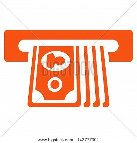 ATM Insert Cash icon. Vector style is flat iconic symbol with rounded angles, orange color, white background.