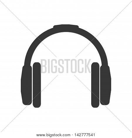 headphone silhouette technology icon. Isolated and flat illustration