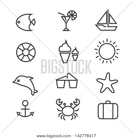 Summer holiday, tropical beach thin line vector icons. Summer cocktail and set of summer icons, dolphin crab and sun illustration