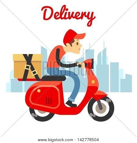 Delivery courier ride scooter motorcycle. Food delivery design. Vector illustration
