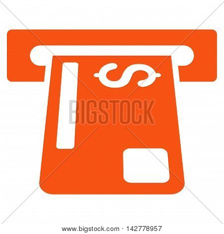 Payment Terminal icon. Vector style is flat iconic symbol with rounded angles, orange color, white background.