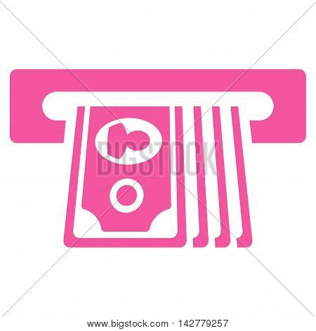 ATM Insert Cash icon. Vector style is flat iconic symbol with rounded angles, pink color, white background.