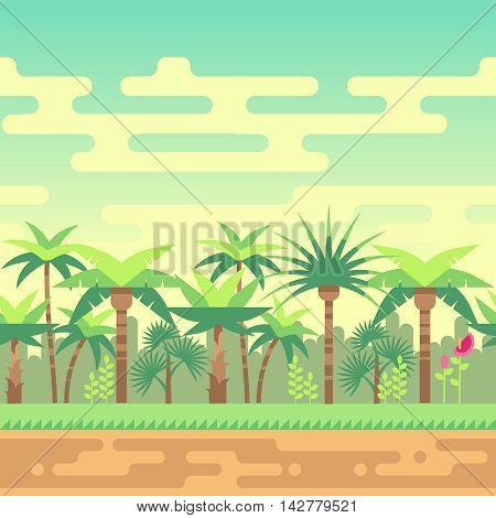 Seamless landscape summer tropical forest, nature landscape vector illustration for computer games. Interface green wood landscape