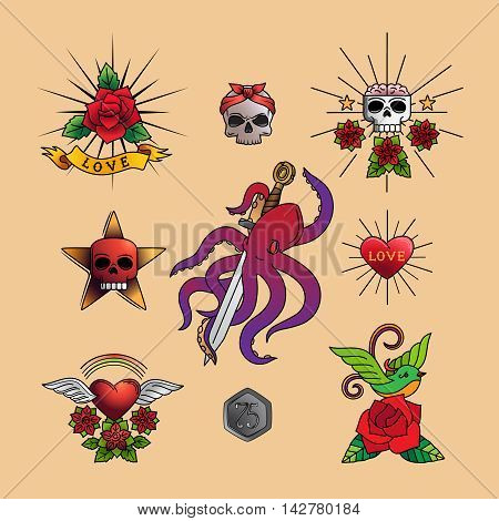 Traditional tattoo art with rose flowers, heart and skull, octopus on dagger vector illustration