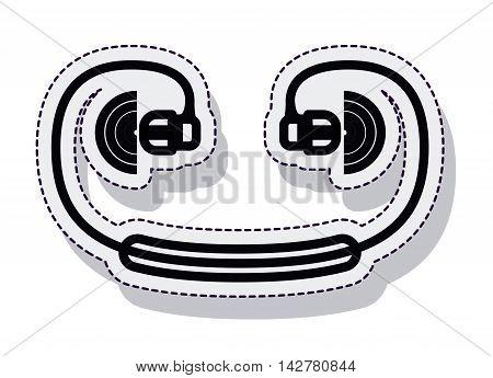 hearphones music sound isolated vector illustration design
