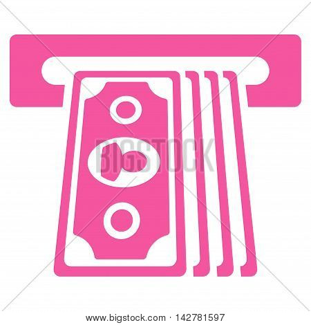 Cashpoint Terminal icon. Vector style is flat iconic symbol with rounded angles, pink color, white background.