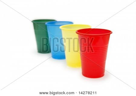Four colourful plastic throwaway cups