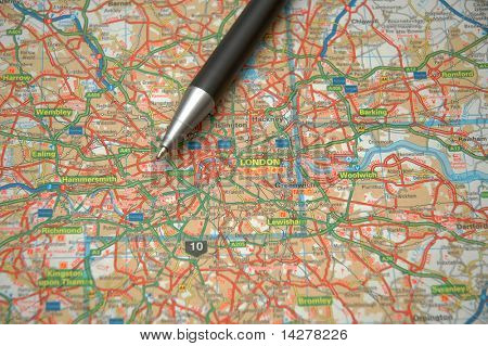 Pen and a map of central London