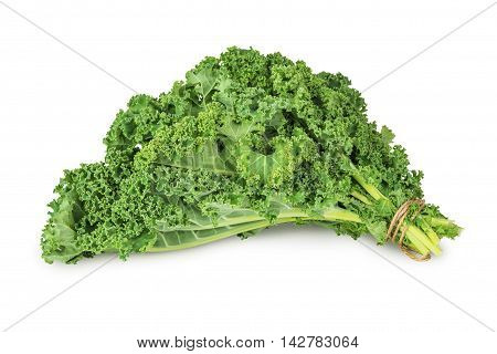 fresh green kale leaves vegetable isolated on white background