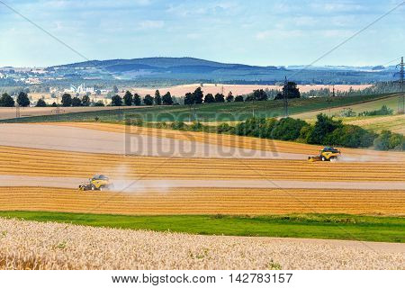 Yellow harvester combine machine on field harvesting wheat in sunny weather czech republic summer scene with straw lines with shadows from evening sun. Agriculture concept