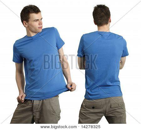 Male Wearing Blank Blue Shirt