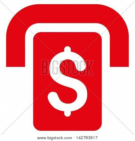 Cashpoint icon. Vector style is flat iconic symbol with rounded angles, red color, white background.