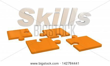 3D rendering of the word skill and puzzle pieces isolated on white