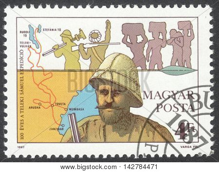 MOSCOW RUSSIA - CIRCA JUNE 2016: a post stamp printed in HUNGARY shows a portrait of Count Samuel Teleki dedicated to the 100th Anniversary of the Africa Expedition circa 1987