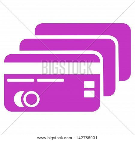 Banking Cards icon. Vector style is flat iconic symbol with rounded angles, violet color, white background.