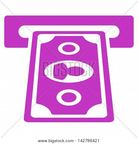 Cashpoint Terminal icon. Vector style is flat iconic symbol with rounded angles, violet color, white background.