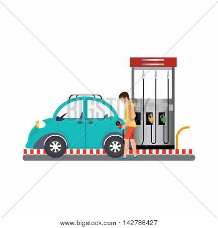 Man filling up fuel into the car at the gas pump The Petrol station conceptual flat design vector illustration.