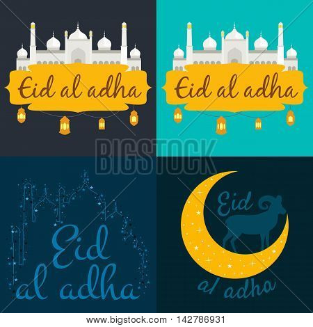 vector holiday illustration of handwritten Eid Al Adha shiny label. lettering composition of muslim holy month with mosque building, sparkles and glitters