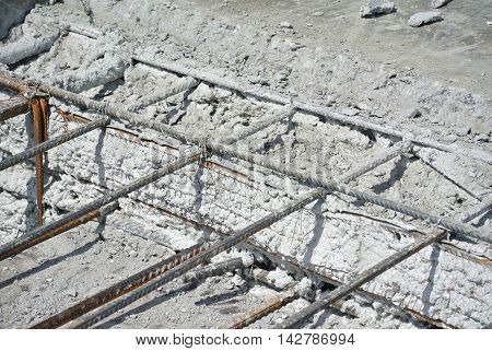 SERDANG, MALAYSIA -JUNE 03, 2016: Concrete construction joint at construction site. Wire mesh used to join cast concrete and the new concrete. The join need to do carefully to avoid leakage.