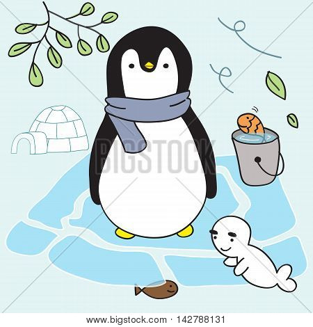 penguin & friends live on ice in Eskimos home