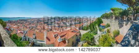 Cityscape in Lisbon Portugal. On a clear sunny day.