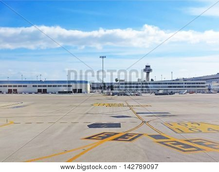 Airport of Palma de Mallorca, view from the airfield to the airport buildings.