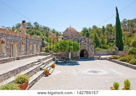 Moni Thari monastery Rhodes Greece. In the centr island.