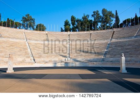 The Panathenaic Stadium in Athens Greece. In the citi centr.