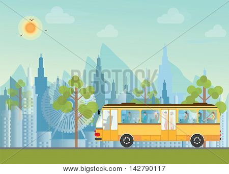 Morning city skyline on city view background and mountains Buildings silhouette cityscape with passenger in public bus flat design Vector illustration.