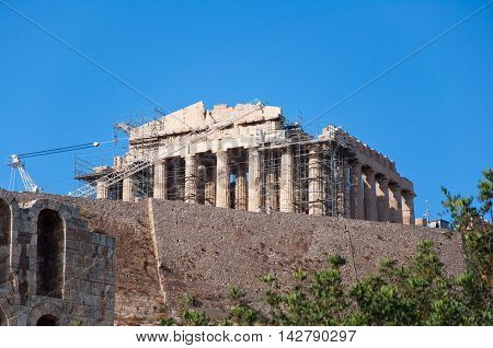 The Parthenon on the Athenian Acropolis Greece.