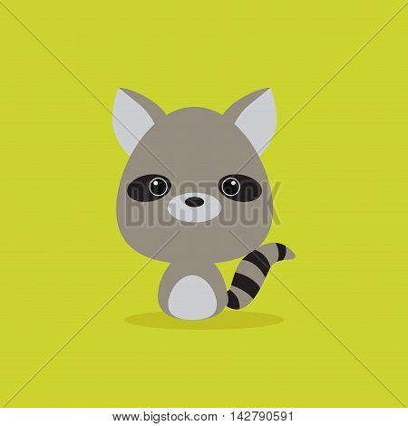 Cute cartoon wild raccoon on a green background
