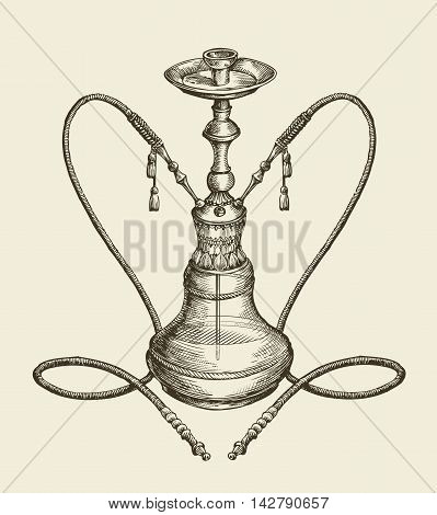 vintage sketch hookah, tobacco smoking. vector illustration