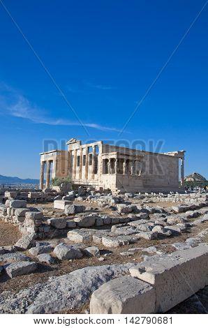 The Erechtheion on Acropolis of Athens in Greece.