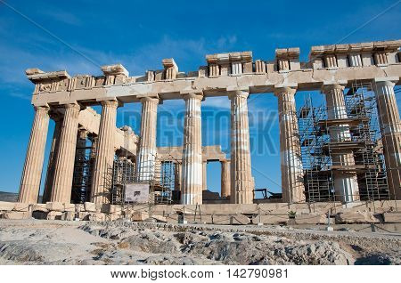 The Parthenon on the Athenian Acropolis on August 1 2013 in Athens Greece.