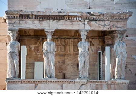The Porch of the Caryatids on the Acropolis of Athens.