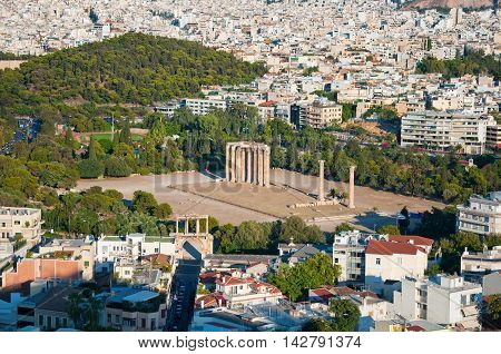 The Temple of Olympian Zeus in Athens Greece.