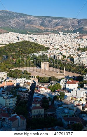 Temple of Olympian Zeus in Athens Greece.