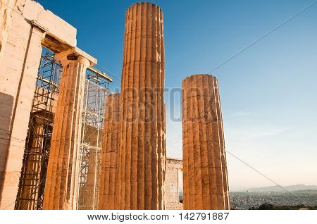 Doric columns of the Propylaea in Athens Greece.