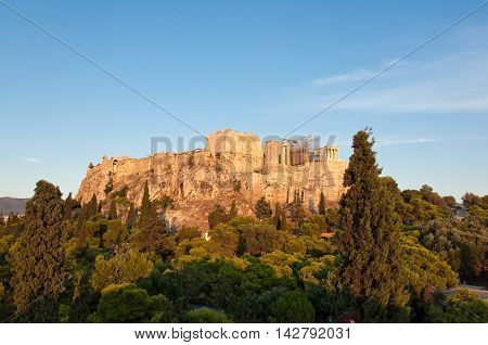 Acropolis of Athens from Areopagus hill in Athens.Greece.