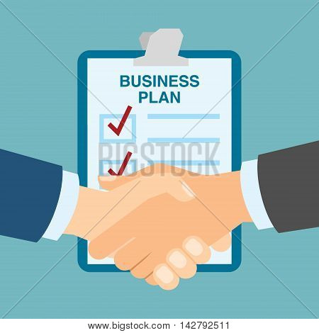 Business plan handshake. Businessmen shaking hands in agreement about business plan. Successful business strategy.