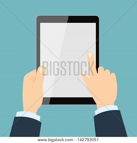 Hands holding tablet. Isolated bisunessman hands holding tablet with blank screen. Concept of showing, reading.