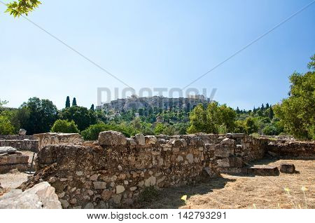 The Acropolis of Athens seen from the the Agora. Greece.