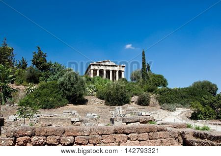 The Temple of Hephaestus in Agora. Athens Greece