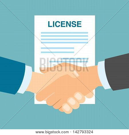 License safety handshake. Men shacking hands for insurance of license, patent from copyriting.