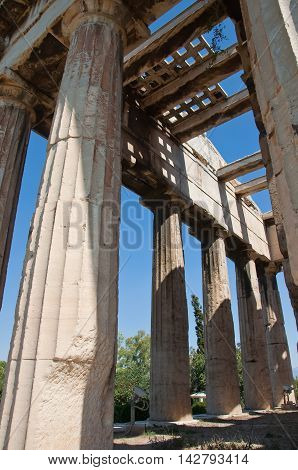 Detail of The Temple of Hephaestus in Agora. Athens Greece.